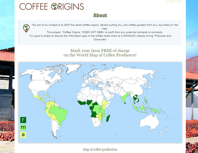 Coffee origins world map editable