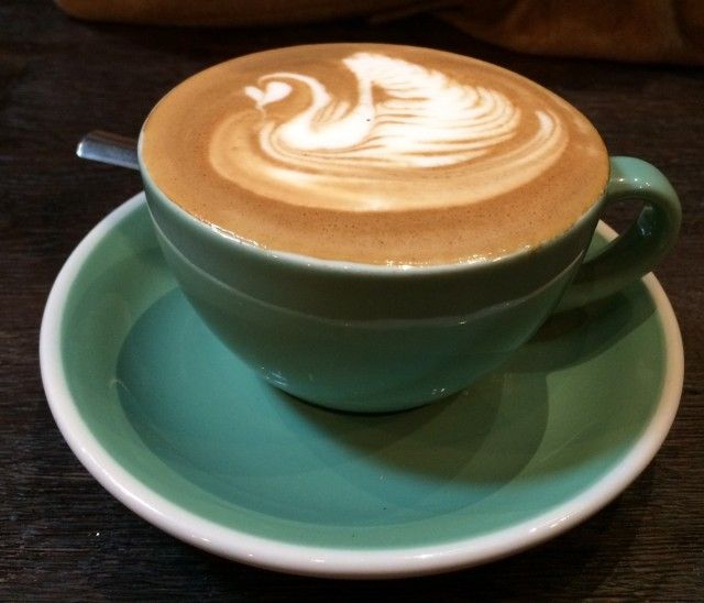 A latte art 'swan' in 200 Degrees Birmingham coffee