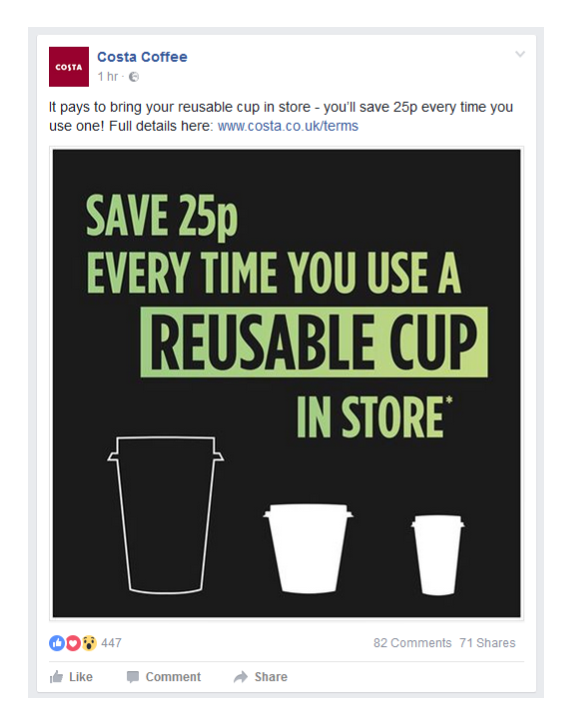 Costa coffee 25p discount reusable cup