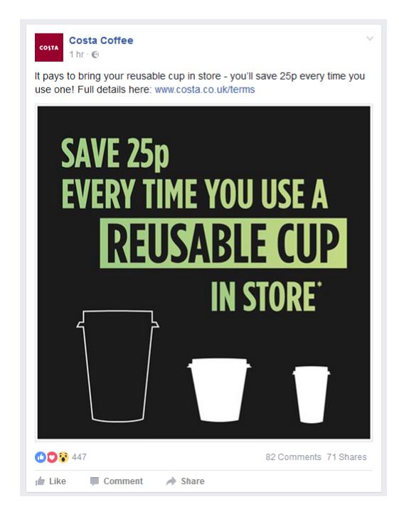 Costa coffee 25p discount reusable cup