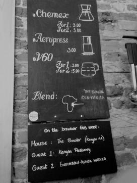 Coffee menu at The Gentlemen Baristas